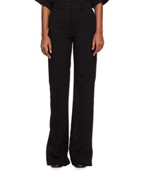 Chloe Flared Eyelet Cady Pants Black