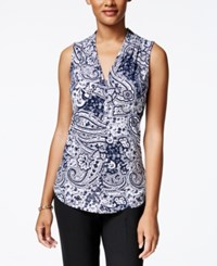 Charter Club Paisley Print Pleated Neck Top Only At Macy's Intrepid Blue