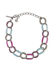 Oscar De La Renta Embellished Chain Link Necklace Multicolour