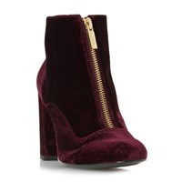 Dune Oldwych Front Zip Ankle Boots Burgundy