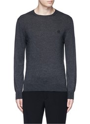 Alexander Mcqueen Skull Embroidery Cashmere Sweater Grey