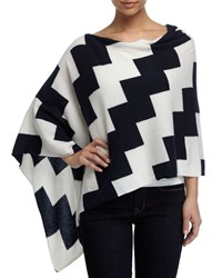 Minnie Rose Cashmere Chevron Poncho Navy Whit