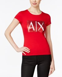 Armani Exchange Sequin Logo T Shirt Solid Red