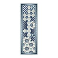 Hibernica Small Floral Tiles Vinyl Floor Mat Blue