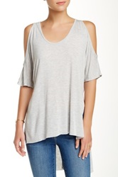 Lily White Cold Shoulder Side Slit Easy Tee Gray