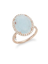 Meira T Milky Aqua Diamond And 14K Rose Gold Ring
