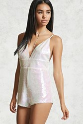 Forever 21 Iridescent Sequin Romper White Pink