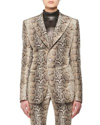 Tom Ford Two Button Snake Print Stretch Cotton Twill Jacket Python