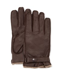Portolano Cashmere Lined Leather Gloves With Snap Black Dark Grey