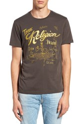 True Religion Men's Brand Jeans Graphic Crewneck T Shirt Used Black