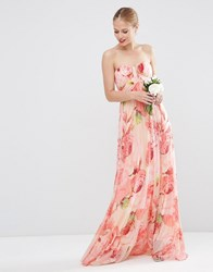 Asos Wedding Floral Printed Rouched Bandeau Mesh Maxi Dress Floral Multi