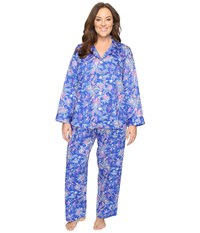 Lauren Ralph Lauren Plus Size Sateen Notch Collar Pj Paisley Blue Women's Pajama Sets
