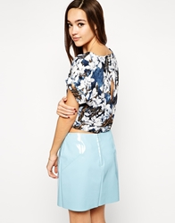 Lovestruck Adele Floral Top With Split Back Grey