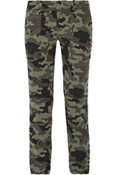 Nili Lotan French Military Camouflage Print Brushed Cotton Blend Twill Tapered Pants Army Green