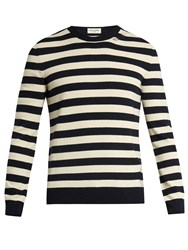Saint Laurent Distressed Striped Wool And Cashmere Blend Sweater Navy Stripe