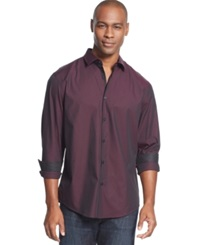 Alfani Black Verve Solid Long Sleeve Iridescent Shirt Winter Wine