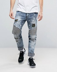 Reason Distressed Slim Jeans With Camo Patches Blue
