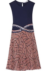 Diane Von Furstenberg Rosalie Jersey And Printed Chiffon Dress Navy