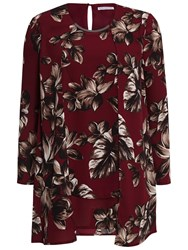 Gina Bacconi Etched Floral Crepe Top Claret