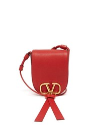 Valentino V Ring Small Leather Cross Body Bag Red