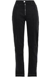 Maje Woman Frayed High Rise Straight Leg Jeans Black