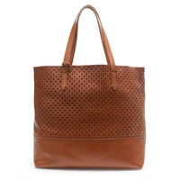 J.Crew Downing Tote In Perforated Leather English Saddle