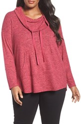 Sejour Plus Size Women's Drawstring Cowl Neck Pullover Pink Polish