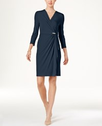 Charter Club Faux Wrap Dress Only At Macy's Intrepid Blue