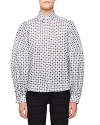 Alaia Floral Embroidered Balloon Sleeve Button Front Blouse White Black