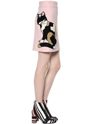 Msgm Cat Patch Wool Crepe Skirt
