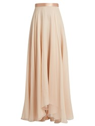 Lanvin Satin Waistband Silk Crepon Skirt Light Pink