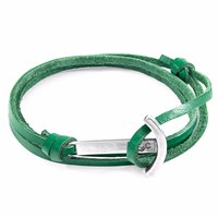 Anchor And Crew Fern Green Clipper Silver Leather Bracelet