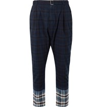 Sacai Belted Pleated Checked Madras Cotton Trousers Blue
