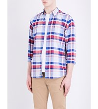 Tommy Hilfiger New York Fit Check Print Cotton Shirt Blue Red Multi