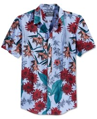 American Rag Totsis Floral Print Short Sleeve Shirt Only At Macy's Oxford Blue