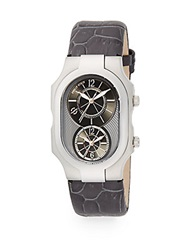 Philip Stein Teslar Signature Stainless Steel Dual Time Watch Grey Silver