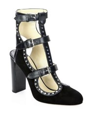 Jimmy Choo Hensley 100 Uct Studded Suede And Leather Pumps Black