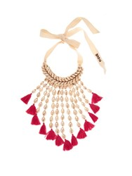 Figue Sina Shell And Tassel Necklace Pink