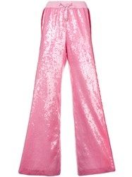 Alberta Ferretti Side Stripe Sequin Palazzo Trousers Pink And Purple