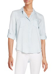 Saks Fifth Avenue Red Riley Chambray Hi Lo Shirt Frost