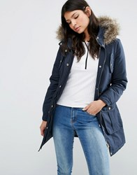 Brave Soul Hooded Parka With Faux Fur Trim Navy