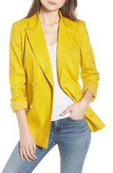 Leith Double Breasted Linen Blend Blazer Yellow Tea