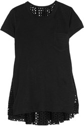 Sacai Oversized Stretch Linen And Broderie Anglaise Top Black