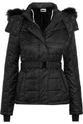 Topshop Sno Bowie Faux Fur Trimmed Quilted Ski Jacket Black