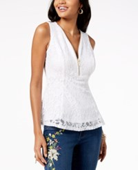 Thalia Sodi Lace Zip Detail Peplum Top Created For Macy's Bright White