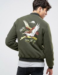 Asos Souvenir Jacket In Soft Handle With Eagle Embroidery In Khaki G Green