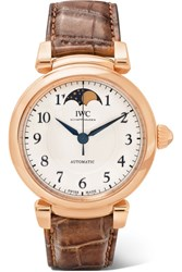 Iwc Schaffhausen Da Vinci Automatic Moon Phase 36 Alligator And 18 Karat Red Gold Watch Silver