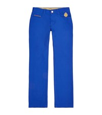Billionaire Leather Trim Slim Jeans Male Blue