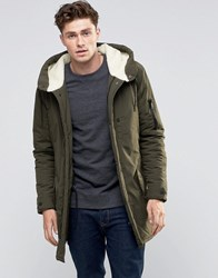 Brave Soul Sherpa Lined Hooded Parka Jacket Green