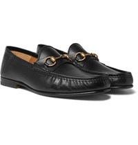 Gucci Easy Roos Horsebit Collapsible Heel Leather Loafers Black
